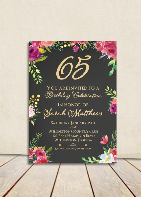 Fuschia Floral Gold Chalkboard 80th Birthday Invitation Any Age Vintage Rose Watercolor Printable Invite
