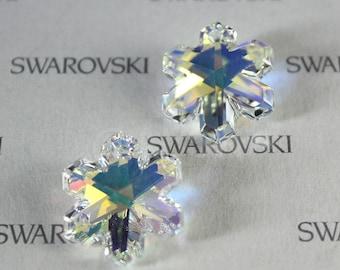 1 pc Genuine Vintage Swarovski 6707 25mm Snowflake Pendant - Crystal Clear AB