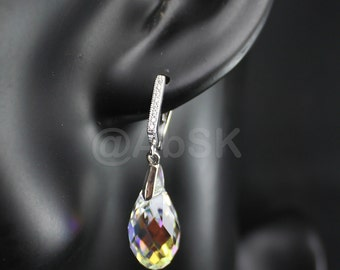Sterling Silver SWAROVSKI Teardrop Briolette Earrings leverback - Crystal Clear AB (BE3)