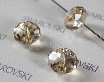 2 pieces Swarovski Elements 5040 12mm RONDELLE Spacer Beads - Crystal Golden Shadow