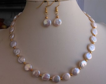 Pearl Set -  45cm 11-12mm white coin pearl necklace & earring set