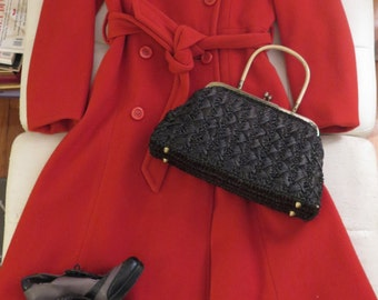 Sale///Vintage 70's Burnt Orange Autumn Swing Heavy Wool Maxi Trench Coat, Size S-M
