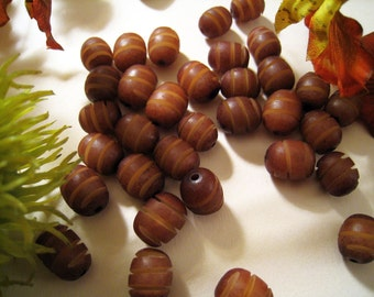 Carved Brown Buri Nut Beads - Oval Shape - Interesting Texture - Spiral Pattern - Sets of 20