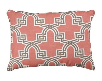 decorative pillows, coral pillow covers, coral pillows, decorative coral pillow, trellis pillow cover, 12x18 chair pillow, pillow for couch