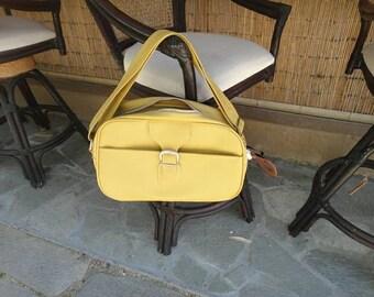 Samsonite Saturn 2 II Yellow Vinyl Travel Bag / Carry On Luggage / Shoulder