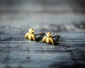 Tiny Bee Earrings in Raw Brass