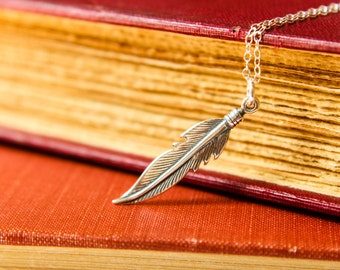 Tribal Feather Necklace in Sterling Silver