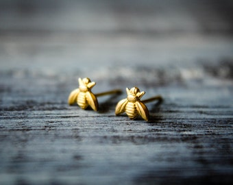 Tiny Bee Earrings, Available in Raw Brass or Silver Plated Brass, Stainless Steel Posts