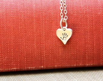 Little Handprint Heart Necklace in Sterling Silver - One Handprint, Child Handprint