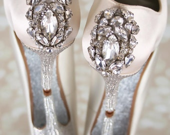 Wedding Shoes, Peep Toes, Bling Wedding Shoes, Crystal Heels, Wedding Shoe Bling, Silver Shoes, Crystal Shoes, Ivory Wedding Shoes