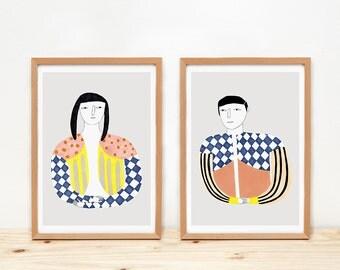 Discreet woman and man - prints - 8 x 11.5 - A4 - by Depeapa