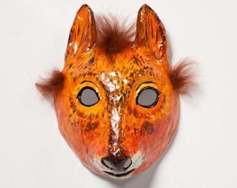 paper mache squirrel Halloween mask