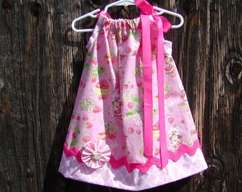 Strawberry Shortcake Inspired Light Pink...Girls Pillowcase Dress Sizes 0-6, 6-12, 12-18, 18-24 months, 2T, 3T..Bigger sizes AVAILABLE