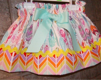 Color Feathers..Girls Skirt, Toddler skirt. Available in 0-12 months, 1/2, 3/4, 5/6, 7/8, 9/10 Bigger Sizes Available