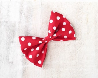 Red with white polka dot hair bow Pin up - Rockabilly