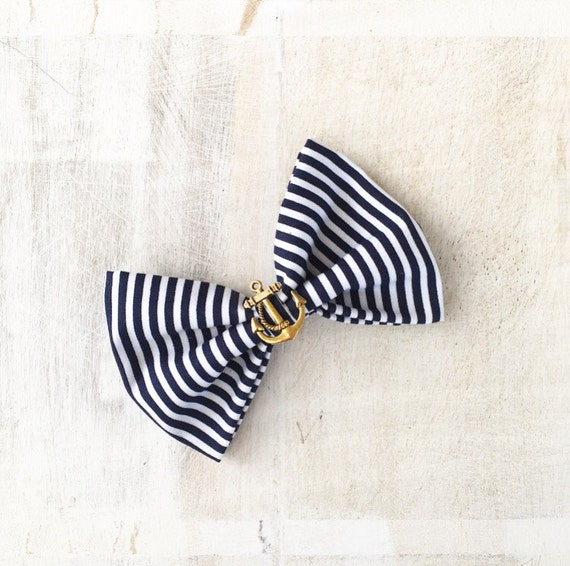 Rockabilly Pin up Navy Blue & White stripe Nautical Sailor Hair Bow Clip with Gold Anchor
