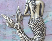 Large Brass Mermaid, Brass Ox Finish- Jewelry Supplies by CalliopesAttic