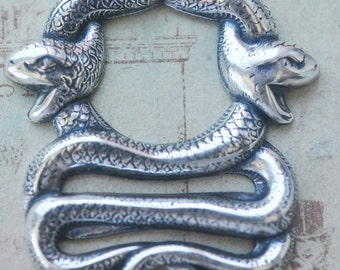 Double Snakes Brass Bezel, Sterling Silver Finish - Jewelry Supplies by CalliopesAttic