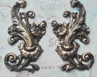 Two large Neo Victorian flourishes for scrapbooking, Honey patina