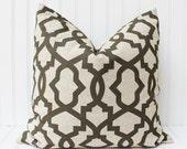 Brown Pillow Cover Throw Pillow, Decorative Pillow, Brown Cushions, Brown Pillows, Accent Pillow, Geometric Trellis Accent Pillow