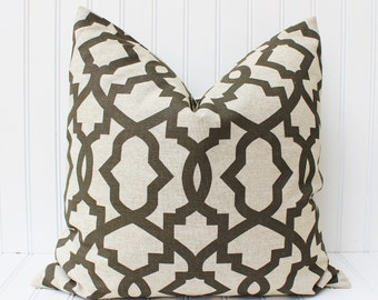 Brown Pillow Cover Throw Pillow, Decorative Pillow, Brown Cushions, Brown Pillows, Accent Pillow, Geometric Trellis Accent Pillow