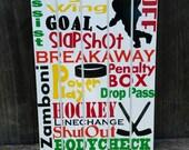 Ice Hockey Subway art, hockey room decor, hockey wall hanging, ice hockey gift, hockey wooden wall art, man cave sign, wooden handmade sign