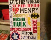 Personalized Super hero subway artSuperhero wall art- Superhero Subway wall decoration-Boys room wall hanging- Wooden superhero wall art-
