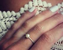 Pearl ring, Sterling silver ring, stacking ring, rope ring, midi ring, stackable ring