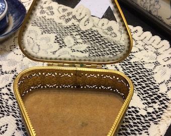 Vintage Brass and Glass Vanity Dresser Dish