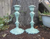 Shabby Chic Mint/Seafoam Candlesticks, Large Candle Holders, Tall Candlesticks, Wedding Candle Holders