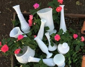 Milk Glass Vase Collection, Set of 11 for Weddings, Home Decor, Assorted Milk Glass Vase Collection,  Shabby Chic Wedding Vase Decor