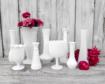 Vintage Milk Glass Vase Collection of 9 for Weddings, Home Decor, Assorted Milk Glass Vase Collection,  Shabby Chic Wedding Vase Decor
