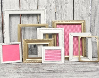 Shabby Chic Antique White and Gold Frame Collection, Nine Upcycled Photo Frames, Wedding Frames, Nursery Frames