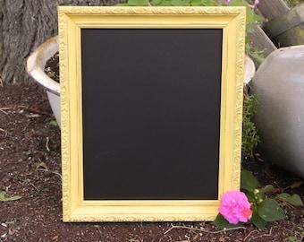 Shabby Chic 8 x 10 Yellow Framed Chalkboard, Menu Chalkboard, Photo Prop Chalkboard, Wedding Sign Chalkboard