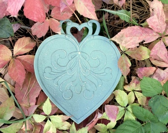 Shabby Chic Soft Teal Heart, Painted Pewter Heart Shaped Dish for Hanging or Table Display
