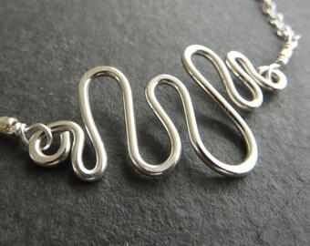 Sterling Silver Bracelet, Wave Bracelet, Wire Bracelet, Silver Chain Bracelet, UK Sellers Only, Wire Jewellery, Wave Jewelry