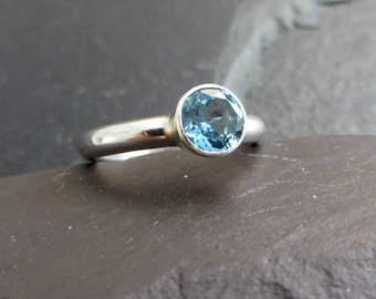 Swiss Blue Topaz Ring, November Birthstone Ring, Solitaire Ring, Sterling Silver Ring, Blue Gemstone Ring, Ring Size K, Ring Size 5.5, UK