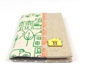 Kid's Passport Holder in Handprinted Fabric Passport Cover Little Village Linen Travel Accessory