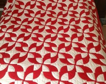 Drunkards Path Red Quilt