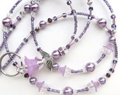 LAVENDER ANGEL- Beaded ID Lanyard Badge Holder-Sparkling Crystals, Lucite Beads, and Glass Pearl Beads (Necklace Clasp)