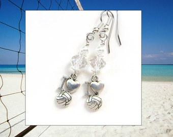 VOLLEYBALL SEASON- Dangle Earrings with Tibetan Silver Volleyball Charms, Pearls, & Crystals (Stainless Steal- For Sensitive Ears)