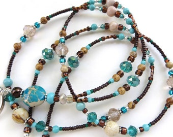 SOUTHWEST BEAUTY- Beaded ID Lanyard- Crazy Lace Agate, Jasper, Magnesite, Turquoise, and Australian Zebra Jasper Gemstones (Magnetic Clasp)