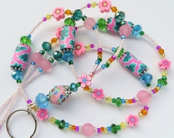 SUMMER FLORAL- Beaded ID Lanyard Badge Holder- Polymer Clay, Lucite Beads, and Sparkling Crystals- (Necklace Clasp)