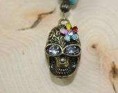 Rear View Mirror Charm, Hippie Gold Skull, Enameled Ornament, Charm, Car Charm, Car Jewelry, Handmade, Flower Power Skull