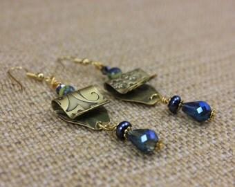 SALE 10.03, was 22.00, Handmade Brass Stamped Metal Dangle Earrings
