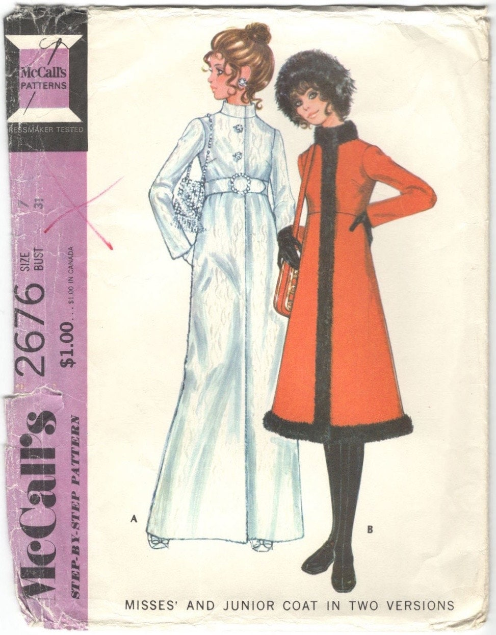 1970s red, fur-trimmed coat pattern - McCall's 2676