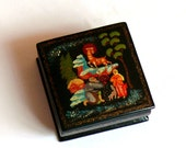 Vintage Box Traditional Russian Hand Painted Lacquered Gift Box Wedding Engagement Ring Small Box  Excellent Condition Gorgeous Handmade Box