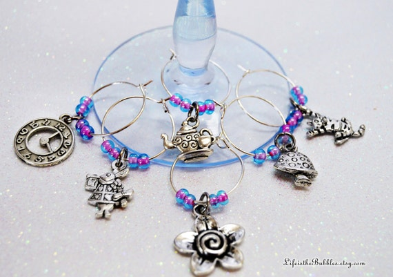 Alice in Wonderland, Disney Through the Looking Glass, 6  Whimsical Wine Charms, Barware Gift, Alice in Wonderland Gift, Bachelorette Party