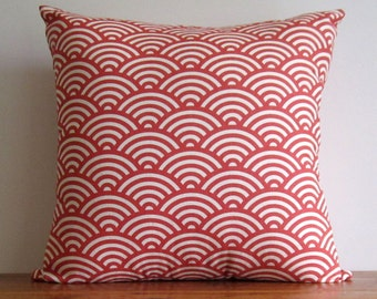 Cushion Cover Red Brick / Rust Japanese Wave. Beautiful Graphic Japanese Pattern 100% Cotton, Handmade