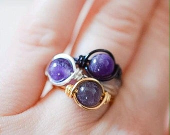 Amethyst Wire Wrapped Ring - Simple Purple Ring - Crown Chakra Gemstone Ring - Made to Order